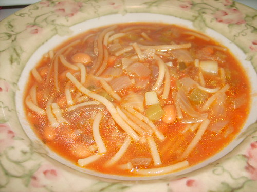 Mexican Fideo Soup with Pinto Beans
