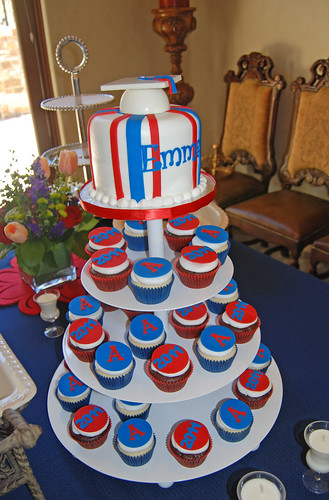 University of Arizona graduation cupcake tower red and blue
