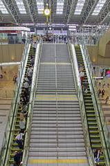 New JR Osaka station, Japan (yorkshire stacked) Tags: people clock japan stairs japanese nikon colours escalator trains ceiling railwaystation hdr jrosakastation nikon7000 nikkor180105mmvr