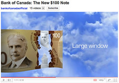 New Bank of Canada $100 Polymer Note - Large window
