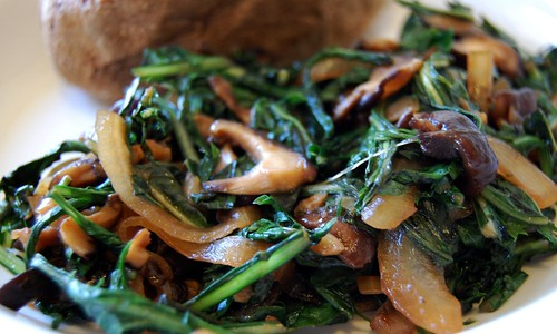Shiitake and Dandelion Greens Saute