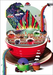 Saucepan Illustration 2 (steffanmacmillan) Tags: cooking illustration stew shadows pipes multicoloured steam ingredients recipes broth lecreuset skillets fryingpans saucepans 3dtype handdrawntypography japaneseteaset