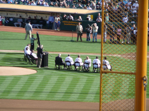 the A's celebrate Rickey Henderson