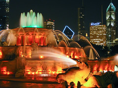 Buckingham Fountain (Sky Noir) Tags: park chicago fountain night colorful cityscape shot grant clear versailles lambert buckingham jacques mkd latona skynoir