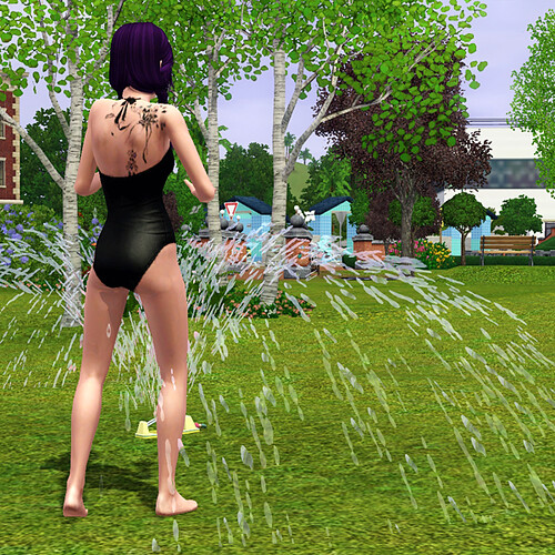 Nevera playing in the sprinkler