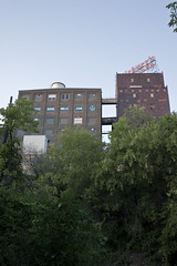Pillsbury Towering Above (Lunky Barsooth) Tags: minnesota downtown minneapolis stonearch stonearchbridge millruins