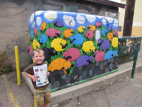 "Benjamin finding his favorite ""mural"" on the art walk in Fort Collins"