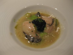 Gary Danko - Glazed Oysters with Osetra Caviar, Zucchini Pearls and Lettuce Cream