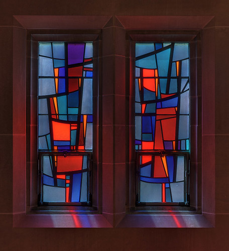 Roman Catholic Cathedral of Saint Peter, in Belleville, Illinois, USA - abstract stained glass window