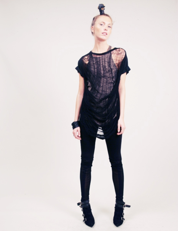 Obesity and Speed crew neck top with shredded sheer cobweb back 5
