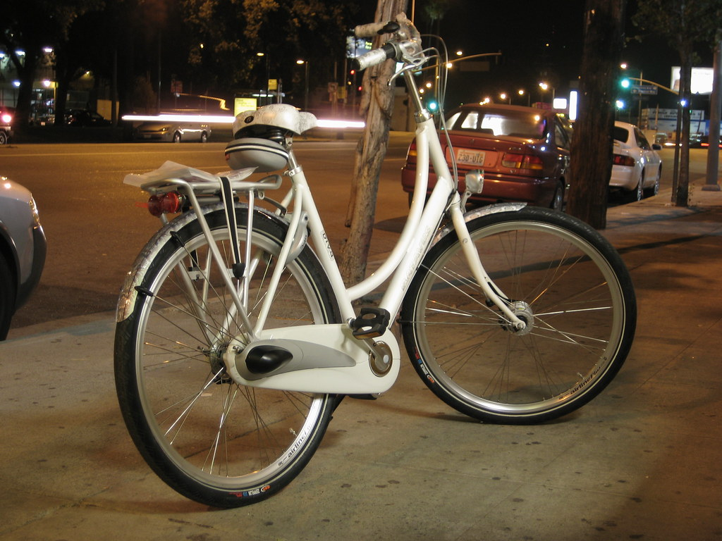 A Batavus Diva, in white, waits to be unleashed on L.A.s roads.