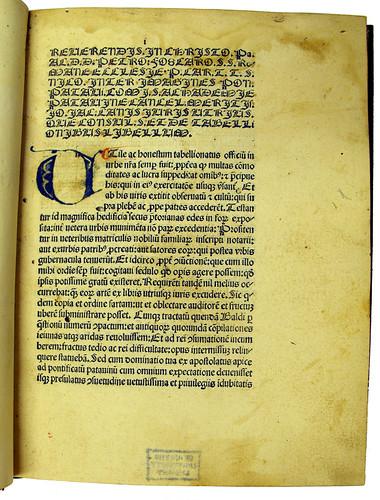 Coloured initial in Canis, Johannes Jacobus: De tabellionibus