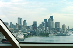 Downtown Seattle from the cruise ship window, as we ate lunch