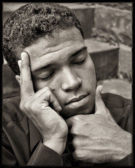 Almost a Man (David Michael Fine Portraits) Tags: portrait male sepia hair hands handsome dreaming teen thinking toned irvingpenn davidmichael