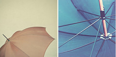 #7 (_cassia_) Tags: blue two brown umbrella outside diptych pair spokes inside weekly collaboration twophotographers