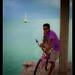 Cyclist on Sarteneja pier