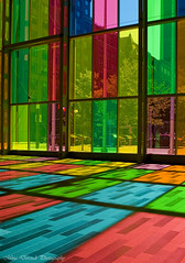 Palais des Congres (~Mina~) Tags: travel pink blue canada reflection building green art yellow architecture quebec squares montreal colorfull shades des explore palais qc palaisdescongres palaisdescongras colorufll congras