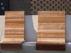 Benches (indigo_jones) Tags: wood holland brick netherlands lines modern concrete golden design utrecht nederland clean slats benches stadhuis