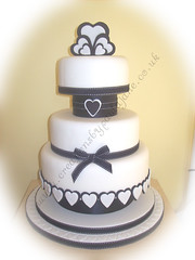 Black & White Heart Wedding Cake (Special Day Cakes) Tags: white black modern hearts weddingcake blackribbon