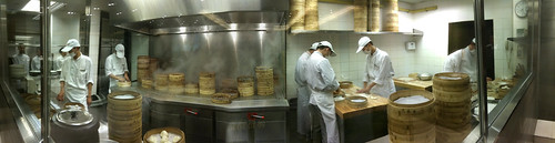 Soup dumpling preparation in Shanghai (panorama)
