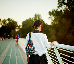 """Can miles truly separate us from friends? If we want to be with someone we love, aren't we already there?"" - Richard Bach (Kim // www.kmillerphotographs.com) Tags: california sunset bokeh quote pigtails redding 2009 sundialbridge fromthearchives peoplefrombehind jillianpoitras"