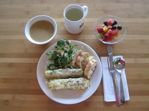 Squash soup, cheese manicottis, salad, bread, fruit, lemonade - $6 from the bistro