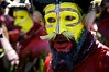 Huli Tribe (Dave Schreier) Tags: new men face yellow festival beard nose guinea paint mt feather tribal tribe papua hagen huli