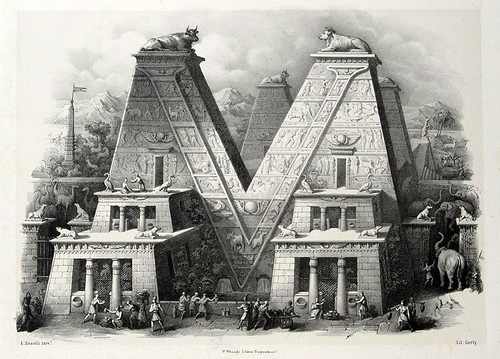 021-Letra V-Alfabeto pittorico- Antonio Basoli 1839-© Accademia di Belle Arti di Bologna