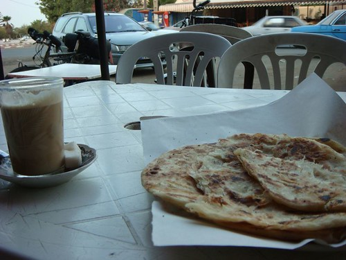Coffee and pancakes (of sorts) in Oualidia...