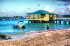 View from the Past (NigelDurrant) Tags: blue sea sky cloud building beach architecture hotel pier boat sand jetty scuba structure resort 1940s holidayinn barbados caribbean diver stmichael antilles westindies carlislebay aquaticclub grandbarbados dwwg