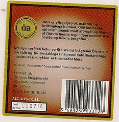 Mori Iceland Beer back label