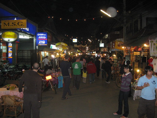 The busy night market in Pai
