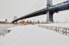 manhattan bridge in the snow (mudpig) Tags: nyc newyorkcity bridge snow newyork storm brooklyn geotagged dumbo manhattanbridge eastriver blizzard hdr fdr mudpig stevekelley snowpocalyse