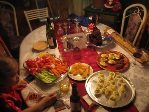 Fruit, crudités, chocolate balls, bread, devilded eggs
