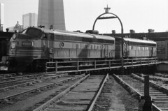 Scan11133ccxxx (citatus) Tags: diesel toronto canada bw roundhouse turntable 1970 minolta srt 102 rail railway railroad onr cntower 1517 1521 ontario northland