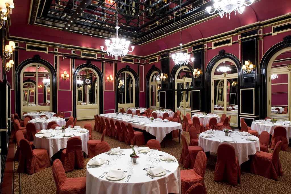 Red with chandeliers Baccarat Meeting Rooms at the Hotel Concorde Opera Paris, France