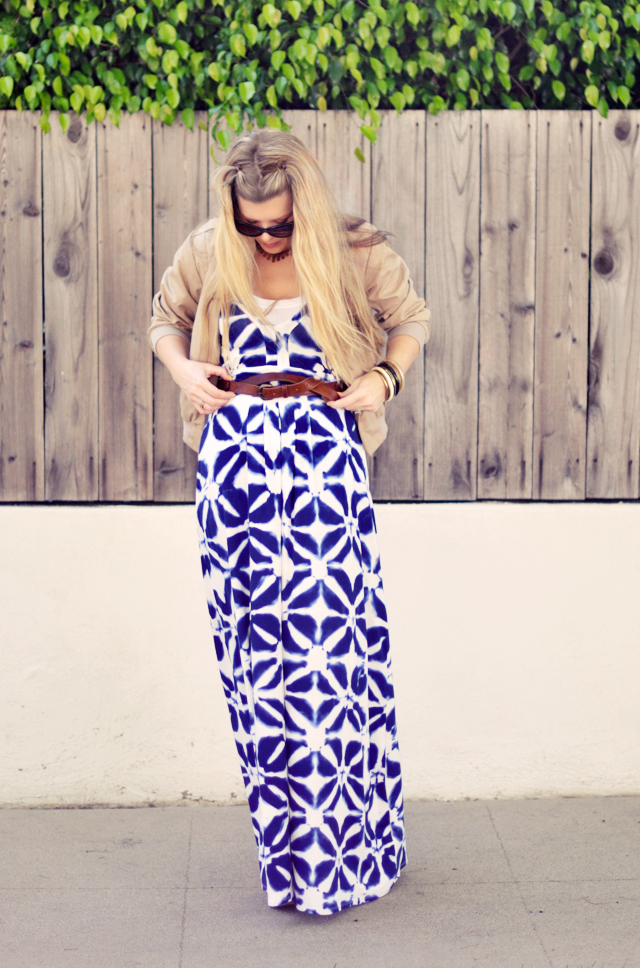 maxi dress with belt   and jacket