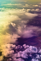 Rainbow Clouds A (Max Braun) Tags: california pink blue sky usa green window colors yellow clouds plane spectrum flight cyan gradient raibow polarization tagebild crosspolarization