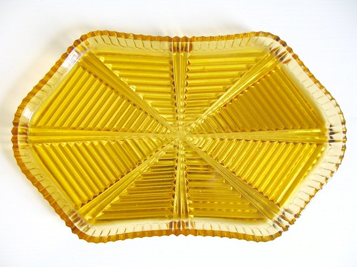 amber gold vintage glass tray