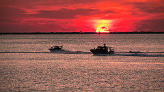 Sunset Patrol (Sky Noir) Tags: bridge sunset sun boats bay tunnel chesapeake patrol hamptonroads bloodred tidewater gunboat cbbt skynoir bybilldickinsonskynoircom