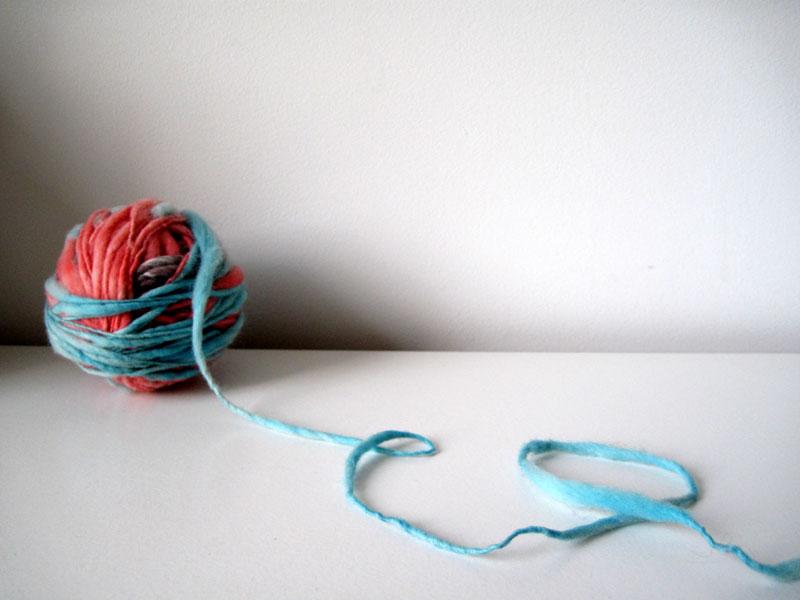 spin green: artisan pinkblue yarn