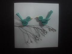 Cute Blue Bird Card (Virginia Roballo) Tags: paper virginia branch card bluebird papel handcraft carto quilling arraialdajuda virginiaroballo ateliearteemcasa