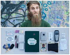 Brett Diptych (J Trav) Tags: camera portrait paper keys persona diptych phone wallet id sketchbook brett businesscards pens tapes earplugs d40 moviestub