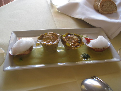 Selene - Santorini - Seafood Tart, Oysters with Foam