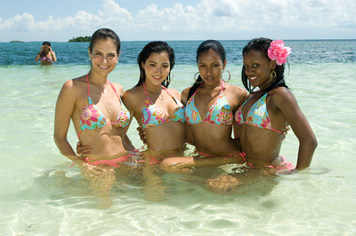 Miss Universe 2009 contestants enjoy in the water on Manjack Cay beach