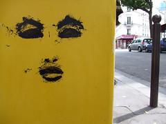 verso (lepublicnme) Tags: streetart paris france face yellow mailbox jaune august 2009 visage woostercollective verso ekosystem