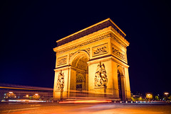 Golden Arches (Allard Schager) Tags: street longexposure 2 paris france monument night french nikon cityscape arch nightscape nightshot traffic 33 icon illuminated mcdonalds explore lighttrails frankrijk fp frontpage iconic 2009 touristattraction parijs gettyimages goldenarches francais expos larcdetriomphe nightglow capitalcity pastmidnight famousplace 1755mmf28 100faves nikkor1755 onefromthearchives hoofdstad internationallandmark explorefrontpage 200faves d80 traveldestination tripodwasused nikkor1755mmf28 nikond80 wellalwayshaveparis wacdonalds allardone allard1 lifegoesfastbuckleup goudenbogen veryrecommendedlargeandonblack majesticmonument rushingtraffic allardschagercom