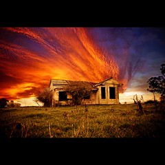A Secret Made Public (Stephen.James) Tags: blue sunset red orange house black abandoned beautiful grass yellow dark fire haunted firey