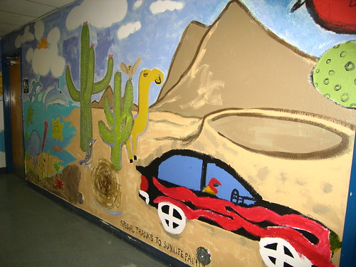 One of many student-painted wall murals throughout CFA.
