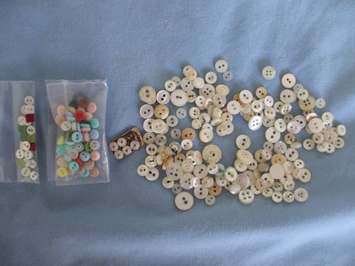 Marty's vintage button collection - tiny mother of pearls + doll buttons